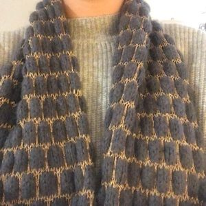 Blue/gray infinity scarf with gold detail
